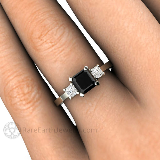 Rare Earth Jewelry Black Diamond Engagement Ring on Finger Asscher Cut Three Stone