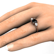 Rare Earth Jewelry Black Diamond Engagement Ring on Finger Rose Gold 3 Stone 1.25ct Cushion
