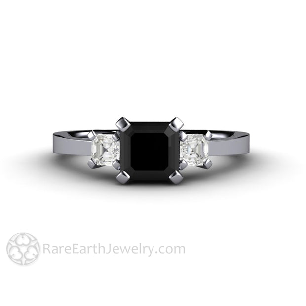 Rare Earth Jewelry Black Diamond Ring 1ct Asscher Center with White Diamond Side Stones Platinum Setting