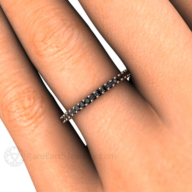 Rare Earth Jewelry Black Diamond Band April Birthstone or Anniversary