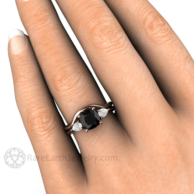 Rare Earth Jewelry Black Diamond Three Stone Right Hand Ring on Finger Cushion Cut with White Sapphire Side Stones 14K