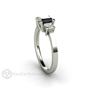 Rare Earth Jewelry Black Diamond Three Stone Ring 14K White Gold Asscher Cut