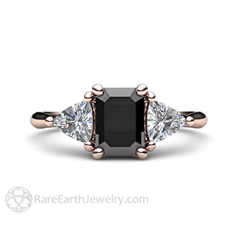 Black Diamond Engagement Ring 3 Stone with Sapphire Trillions