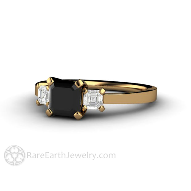 Rare Earth Jewelry Black Diamond Wedding Ring 18K Yellow Gold Asscher 3 Stone