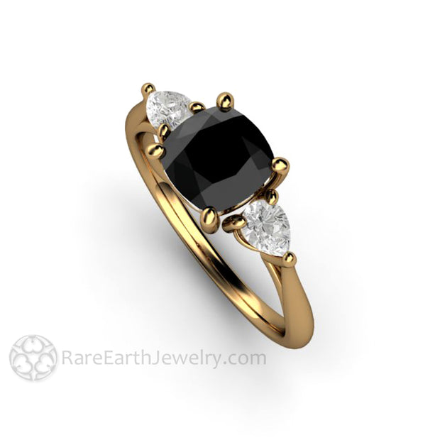 Rare Earth Jewelry Black Diamond Wedding Ring Antique Square Cushion Cut with Pear White Sapphires 18K Yellow Gold Vintage Style