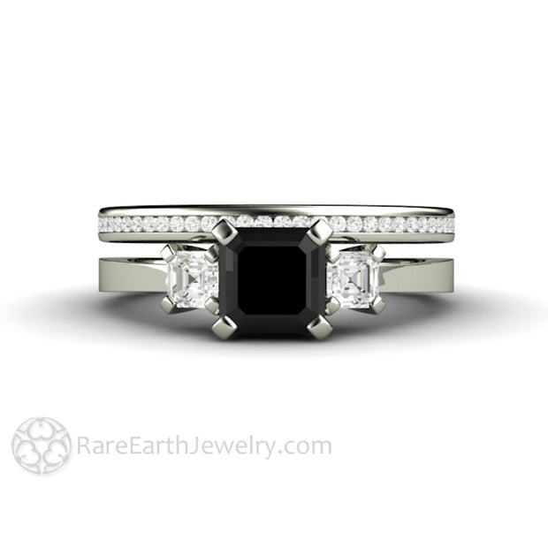 Rare Earth Jewelry Black Diamond Wedding Ring Set 1 Carat Asscher Cut Three Stone Setting 14K Gold Diamond Accent Side Stones