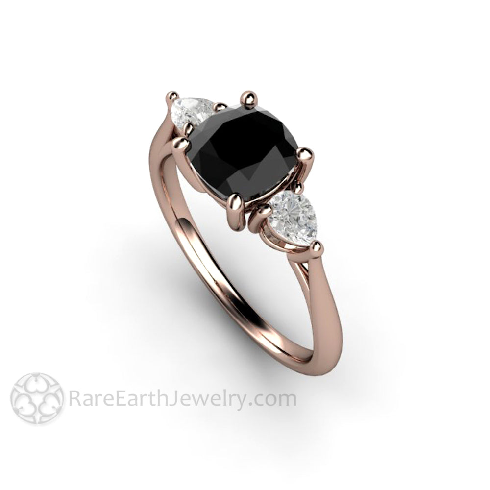 unique ring wedding rings tinnivi engagement created sterling princess diamond black cut silver