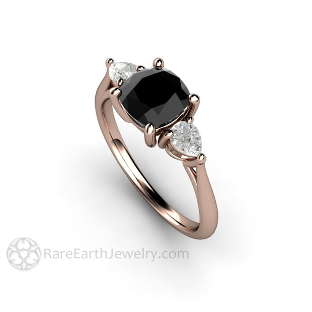 Rare Earth Jewelry Black Diamond Wedding Ring Three Stone Setting 1.25ct Square Cushion Cut with Sapphire Side Stones