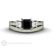 Rare Earth Jewelry Black Diamond Wedding Set 1 Carat Asscher Cut 3 Stone 14K or 18K Gold