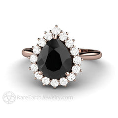 Rare Earth Jewelry Black Moissanite Engagement Ring Diamond Halo Pear Cut 14K