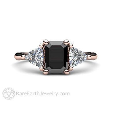Rare Earth Jewelry Black Spinel Engagement Ring Rose Gold 3 Stone Setting