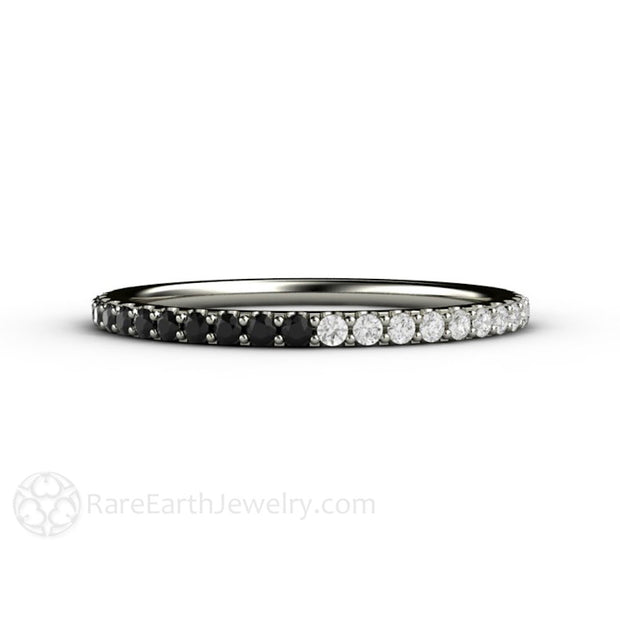 14K White Gold Black and White Diamond Wedding Anniversary Ring Rare Earth Jewelry