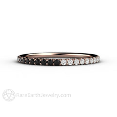 Rare Earth Jewelry Black and White Diamond Ring Stackable Band 14K Gold