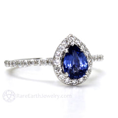 Rare Earth Jewelry Pear Cut Blue Sapphire Engagement or Bridal Ring 14K or 18K Gold with Diamonds