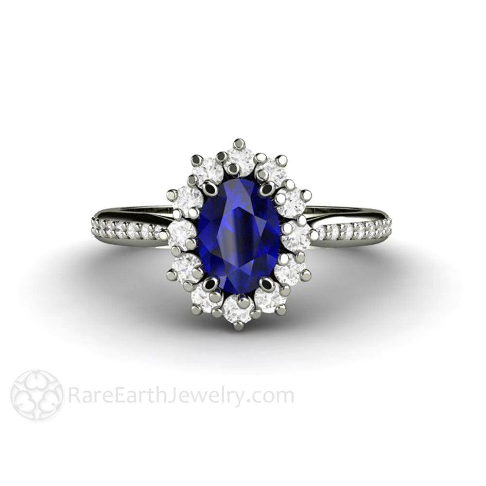 Rare Earth Jewelry Oval Blue Sapphire Engagement Ring 14K Gold