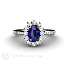 Rare Earth Jewelry Oval Blue Sapphire Engagement Ring