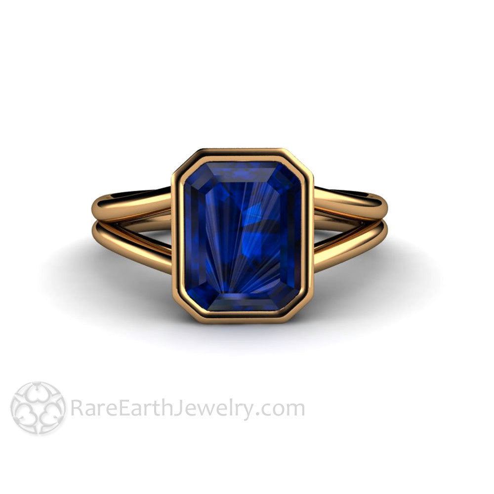 Rare Earth Jewelry Blue Sapphire Solitaire Engagement Ring Emerald Cut 14K Bezel Split Shank Setting