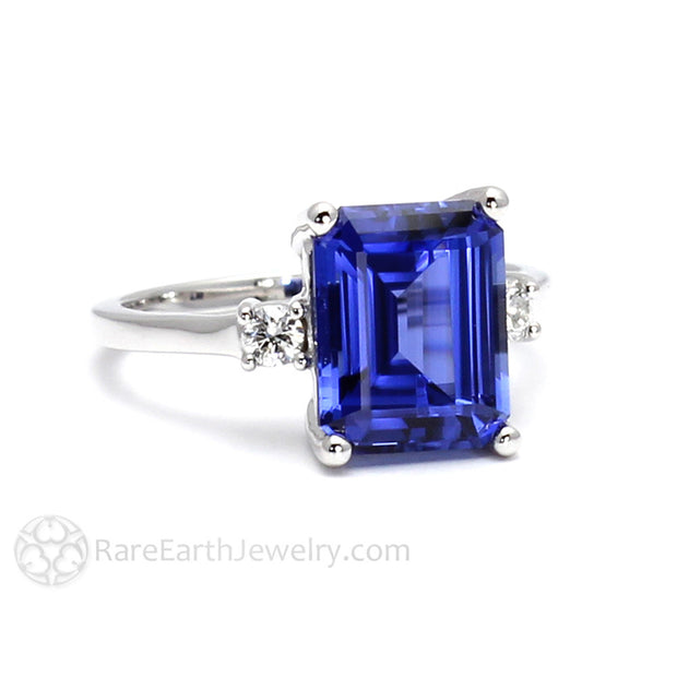 Rare Earth Jewelry Blue Sapphire Ring Emerald Cut with Diamond Accent Side Stones 14K Gold
