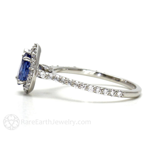 Rare Earth Jewelry Blue Sapphire and Diamond Halo Ring September Birthstone or Anniversary Ring