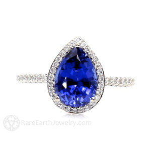 Rare Earth Jewelry Pear Cut Blue Sapphire Diamond Halo Ring Teardrop Design