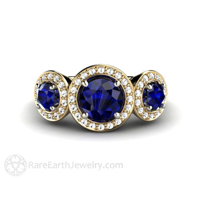Rare Earth Jewelry Blue Sapphire Engagement Ring 3 Stone Diamond Halo 14K Gold