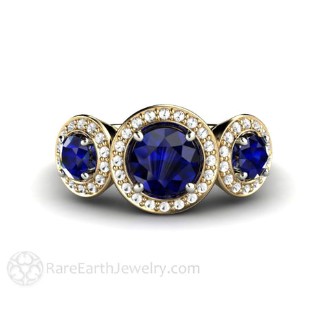 3 Stone Blue Sapphire Engagement Ring with Diamond Halo