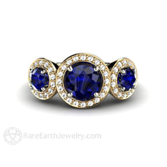 Rare Earth Jewelry Blue Sapphire Engagement Ring 3 Stone Halo