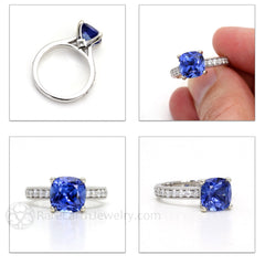 Rare Earth Jewelry Blue Sapphire Solitaire Ring Cushion Cut