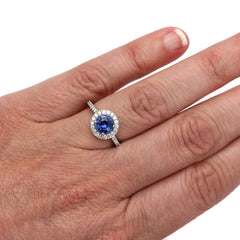 Rare Earth Jewelry Blue Sapphire Right Hand Ring on Finger 14K White Gold Diamond Halo
