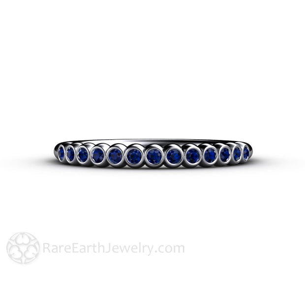 Platinum Bezel Set Blue Sapphire Ring Stackable Band Rare Earth Jewelry