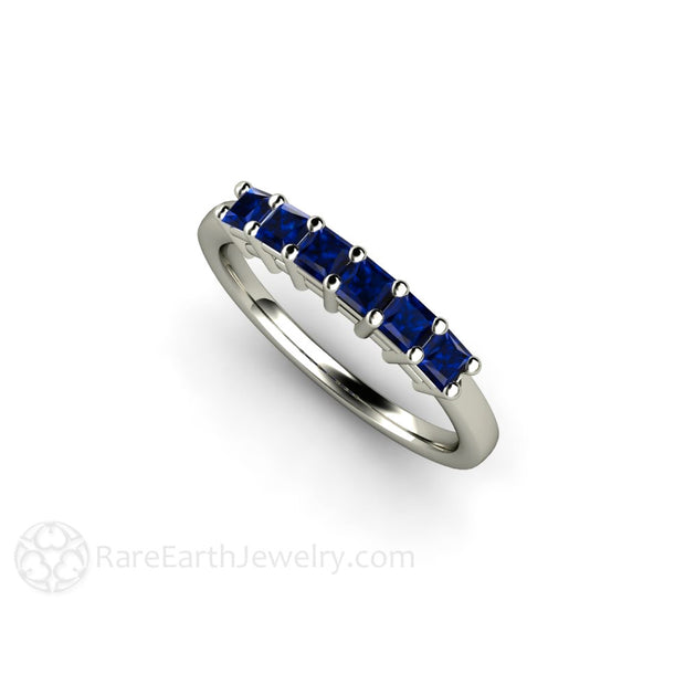 Princess Blue Sapphire Stacking Wedding Ring or Anniversary Ring Rare Earth Jewelry