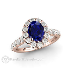 Rare Earth Jewelry Blue Sapphire Wedding Ring Oval Cut Diamond Halo 18K Rose Gold