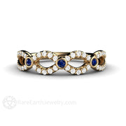 14K Infinity September Birthstone Ring Blue Sapphire Rare Earth Jewelry