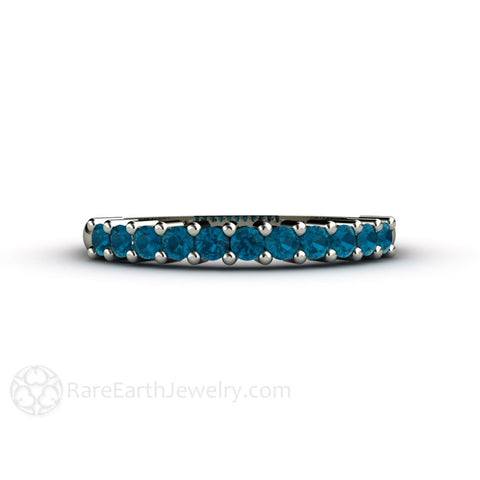 London Blue Topaz Band Stacking Ring Anniversary Band December Birthstone