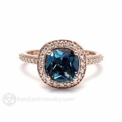 Blue Topaz Ring December Birthstone or Anniversary 14K Gold Rare Earth Jewelry