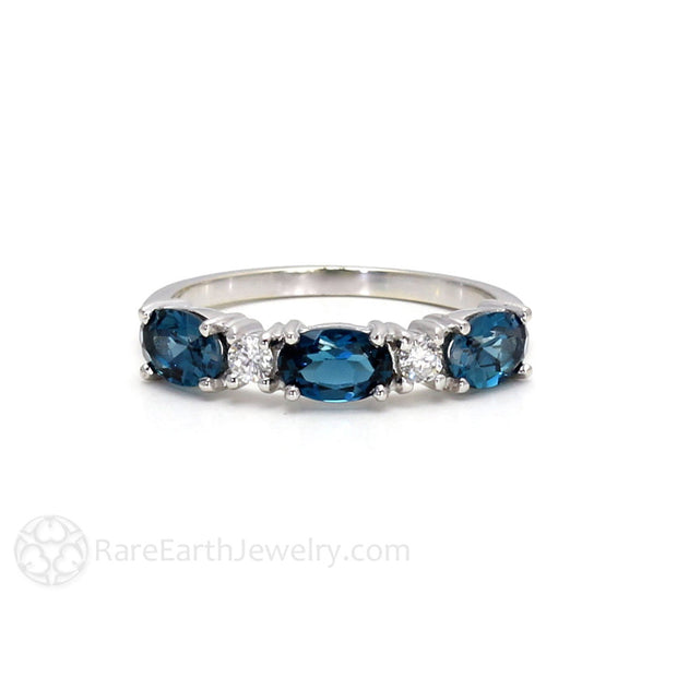Rare Earth Jewelry London Blue Topaz Stacking Ring Stackable Band 14K Oval Cut Gemstones with Round Cut Diamonds