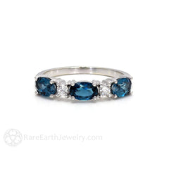 London Blue Topaz Stacking Ring Stackable Band 14K Oval Cut Gemstones with Round Cut Diamonds Rare Earth Jewelry