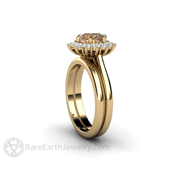 Rare Earth Jewelry Brown Moissanite Bridal Set Round Cut 1.25ct Forever One Halo 14K 6 Prong Setting