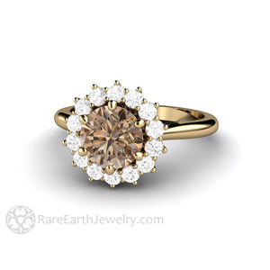Rare Earth Jewelry Brown Moissanite Halo Engagement Ring 14K Yellow Gold 6 Prong Vintage Cluster Style Setting