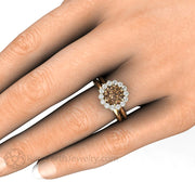 Rare Earth Jewelry Brown Moissanite Wedding Ring Set on Finger Cluster Forever One Moissy Halo 14K or 18K Gold