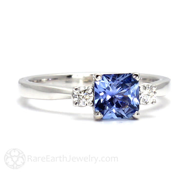 Rare Earth Jewelry Asscher Blue Sapphire Ring 14K White Gold 3 Stone Setting with Diamond Accent Stones