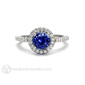 Rare Earth Jewelry Round Cut Ceylon Blue Sapphire Ring with Diamonds 14K Gold September Birthstone or Anniversary