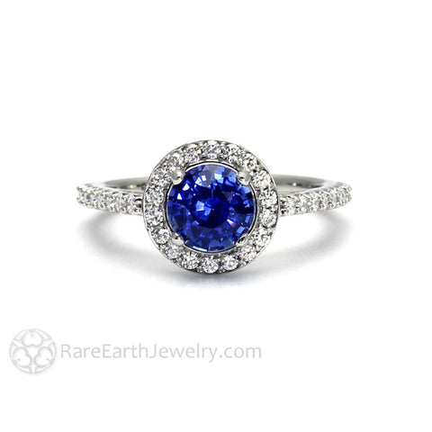 Ceylon Blue Sapphire Engagement Ring with Diamond Halo