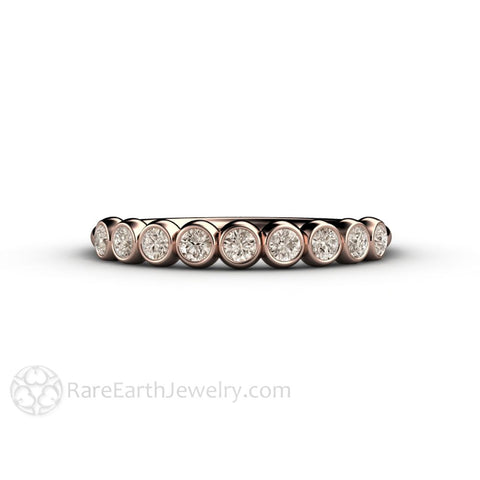 Champagne Bubbles Light Brown Diamond Wedding Ring Bezel Set Anniversary Band