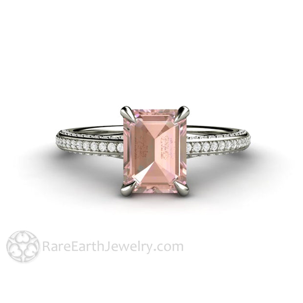 Unique Engagement Ring with Chatham Champagne Pink Sapphire and Diamonds by Rare Earth Jewelry