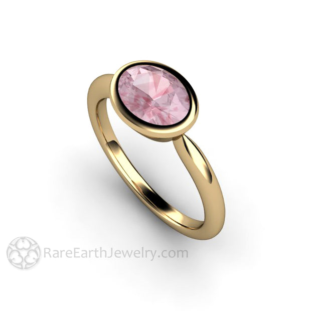 Rare Earth Jewelry Champagne Sapphire Bezel Ring 1.75ct Oval Pink Center Stone 14K Yellow
