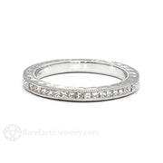Rare Earth Jewelry Engraved Princess Cut Diamond Wedding Ring Art Deco Milgrain 14K Gold