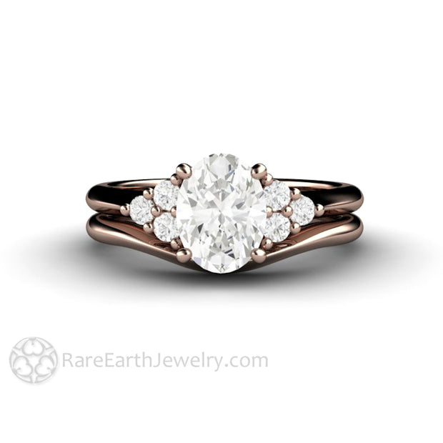 Rare Earth Jewelry Rose Gold Oval Cut Moissanite Bridal Ring Set with Plain Gold Wedding Band Natural Diamond Accents