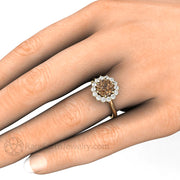 Rare Earth Jewelry Chocolate Moissanite Bridal Ring on Finger Cluster Halo Vintage Style Setting 1.25 Carat Round Cut