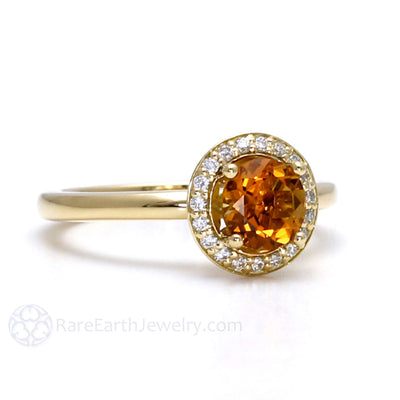 Rare Earth Jewelry Orange Citrine Ring Diamond Halo Accents 14K or 18K Gold Setting November Birthstone